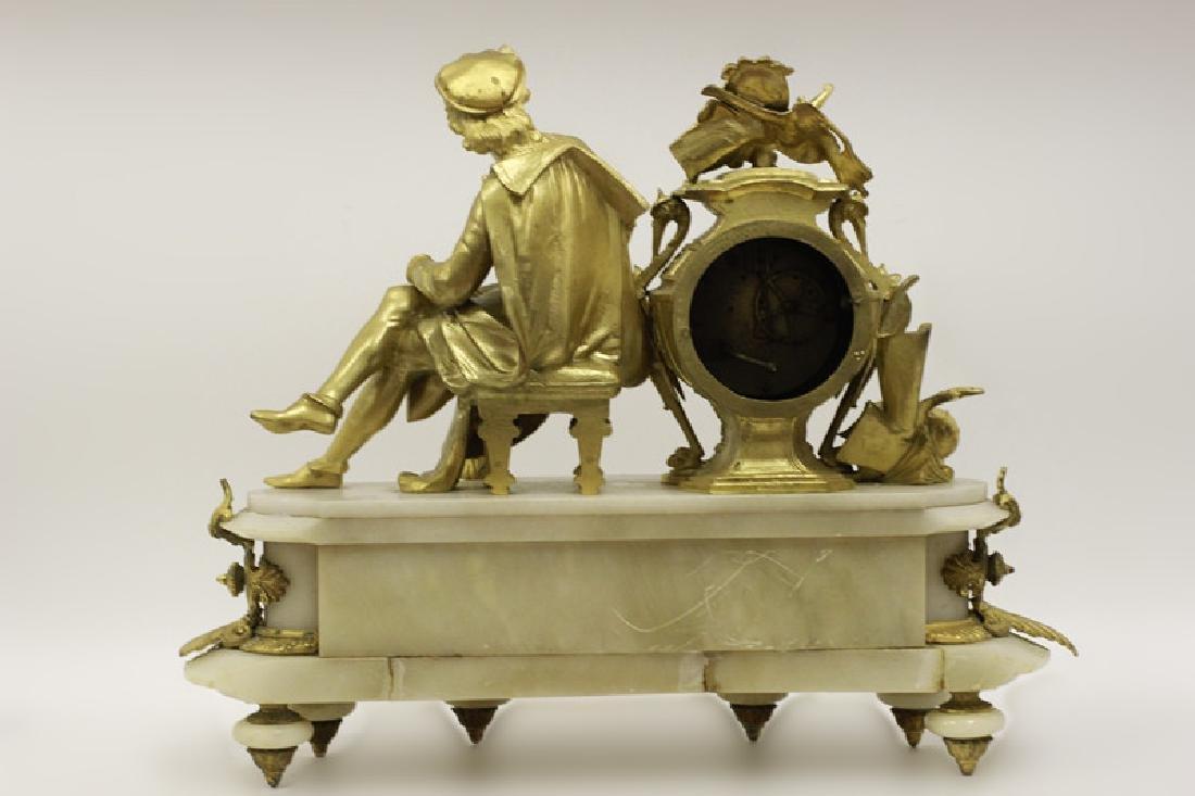 Gilded Metal & Alabaster Table Clock - 3