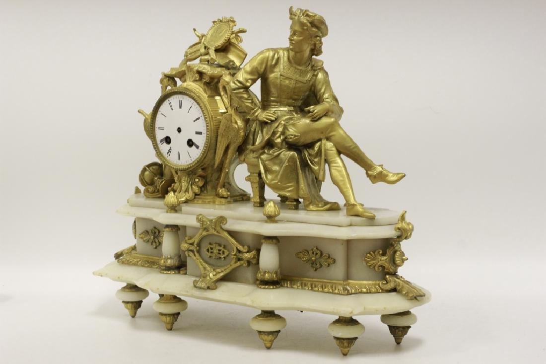 Gilded Metal & Alabaster Table Clock - 4
