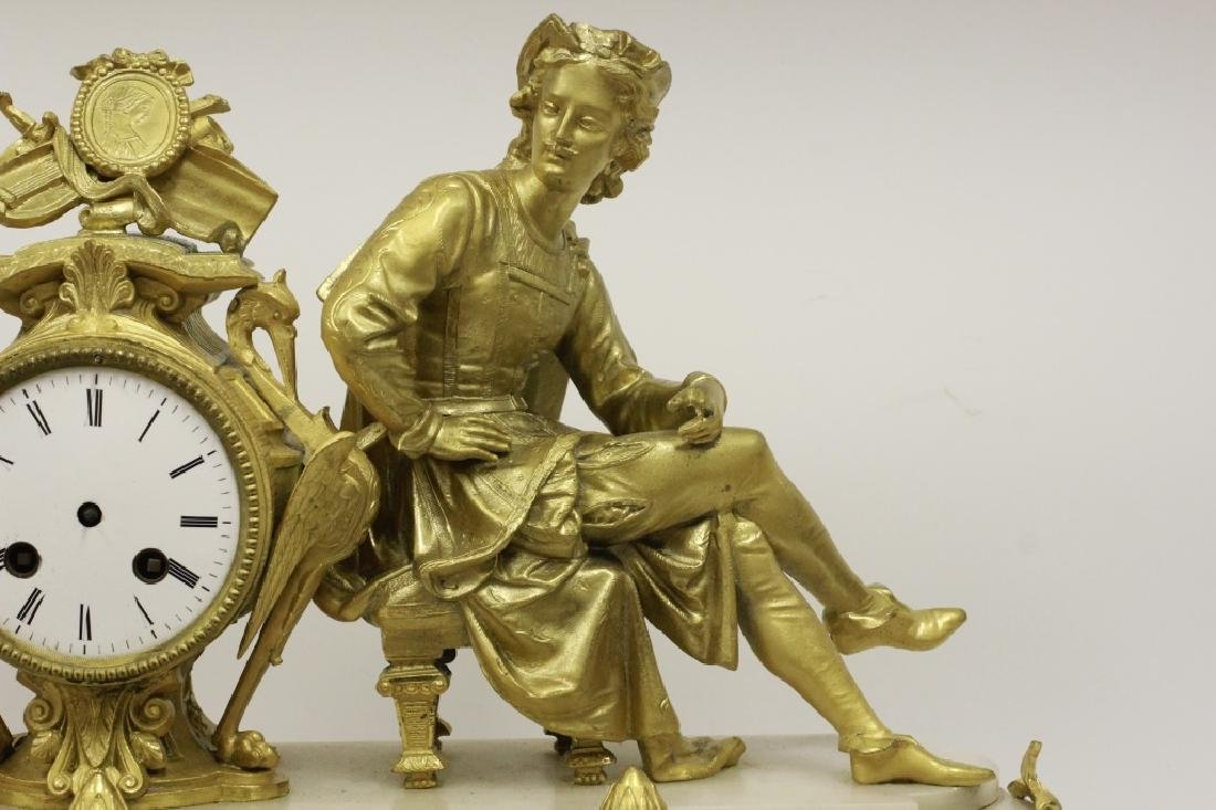 Gilded Metal & Alabaster Table Clock - 5