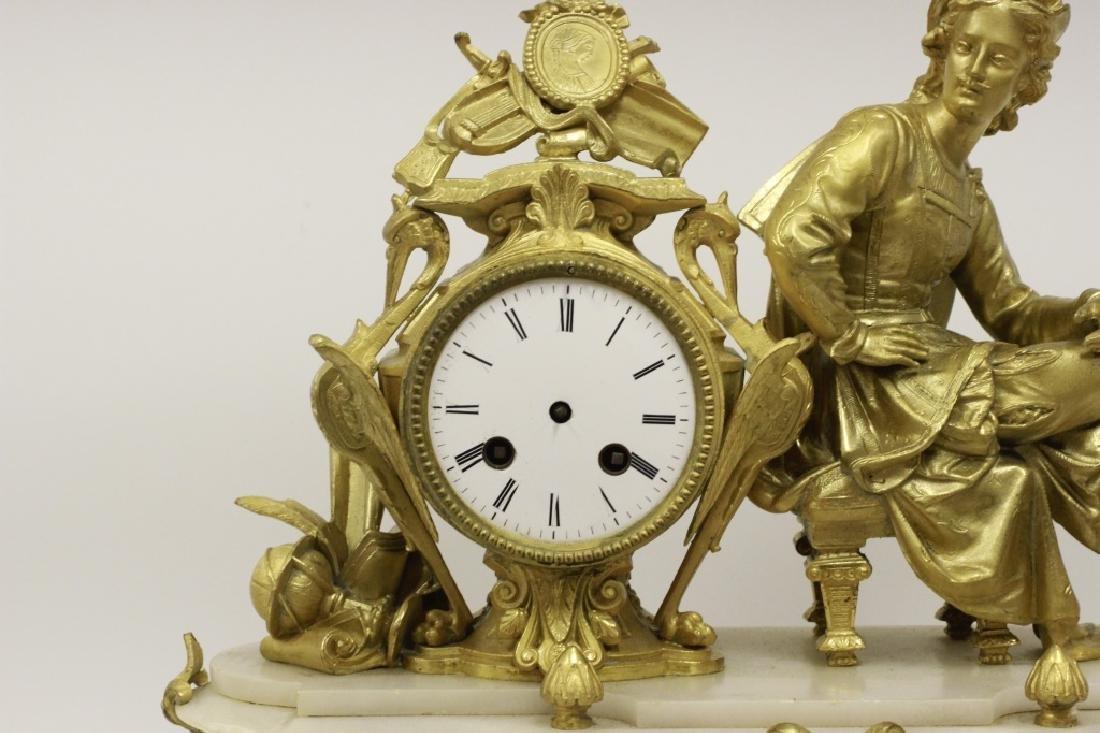 Gilded Metal & Alabaster Table Clock - 6