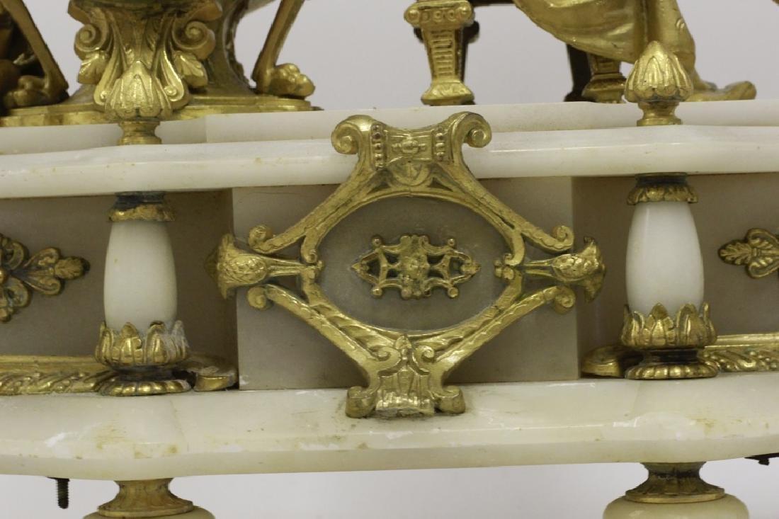 Gilded Metal & Alabaster Table Clock - 7