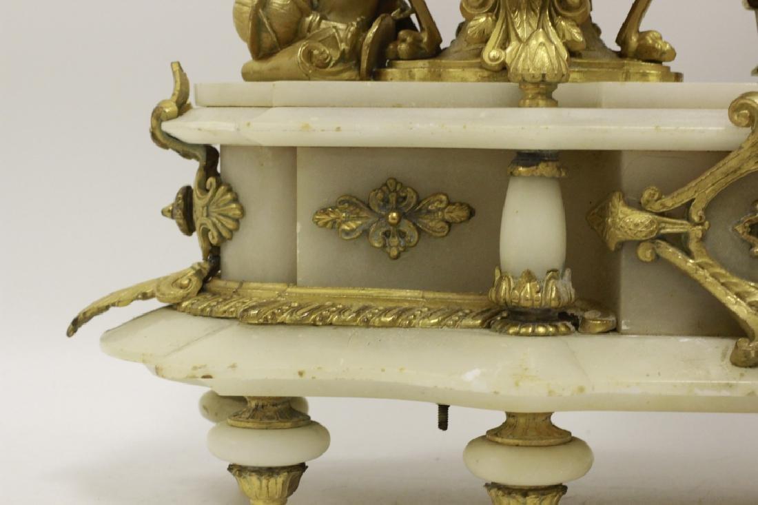 Gilded Metal & Alabaster Table Clock - 8