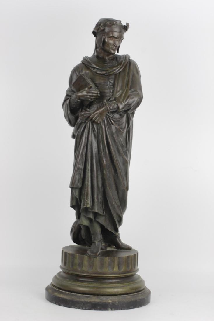 19thc Large Bronze Sculpture of Dante Alegheri