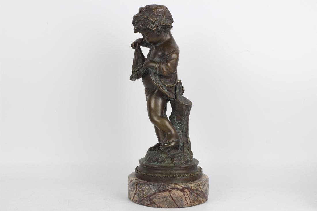 19thc Large Bronze Figure of a Boy on Marble Base