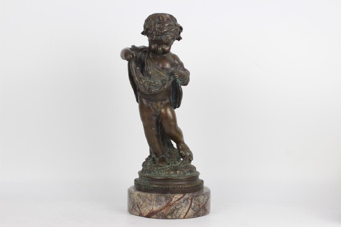 19thc Large Bronze Figure of a Boy on Marble Base - 2