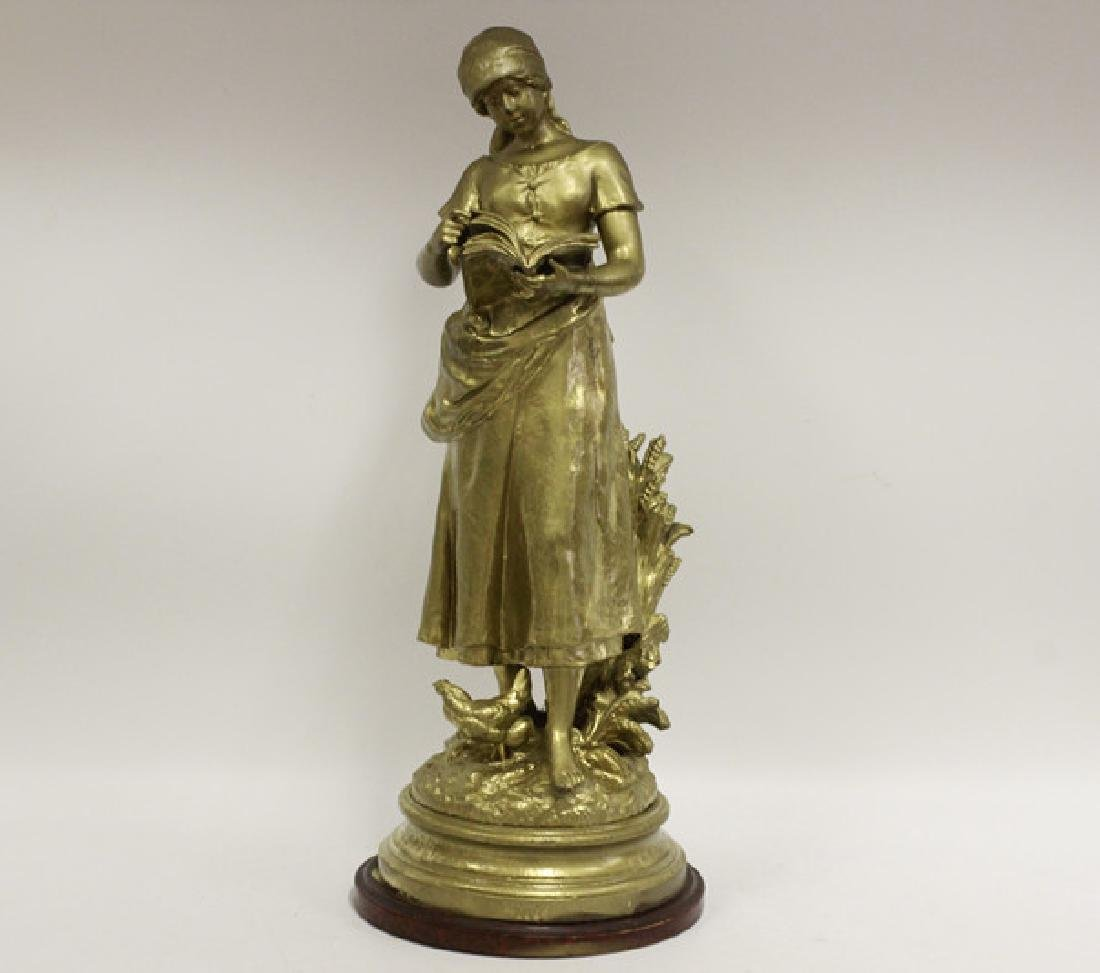 Signed August Moreau, Gilt Metal Figure of Girl