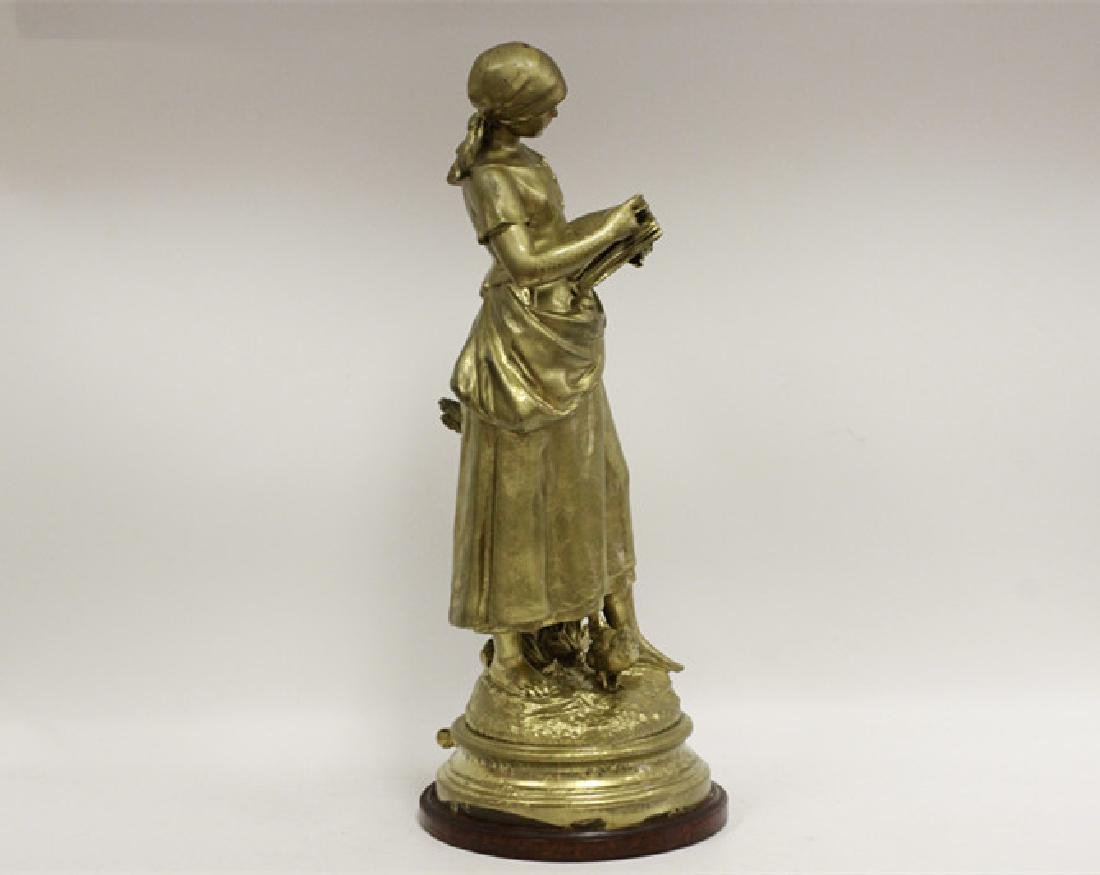 Signed August Moreau, Gilt Metal Figure of Girl - 2