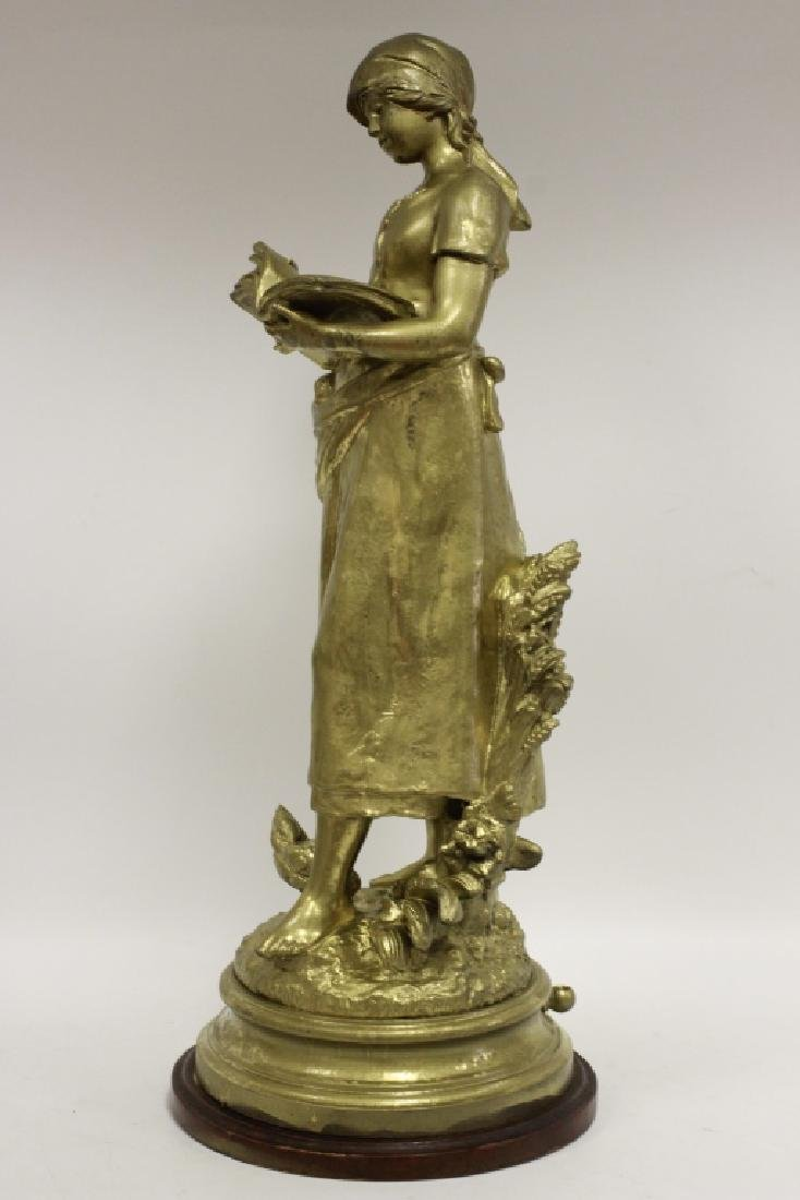 Signed August Moreau, Gilt Metal Figure of Girl - 3