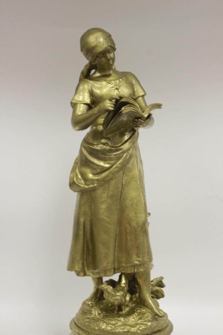 Signed August Moreau, Gilt Metal Figure of Girl - 6