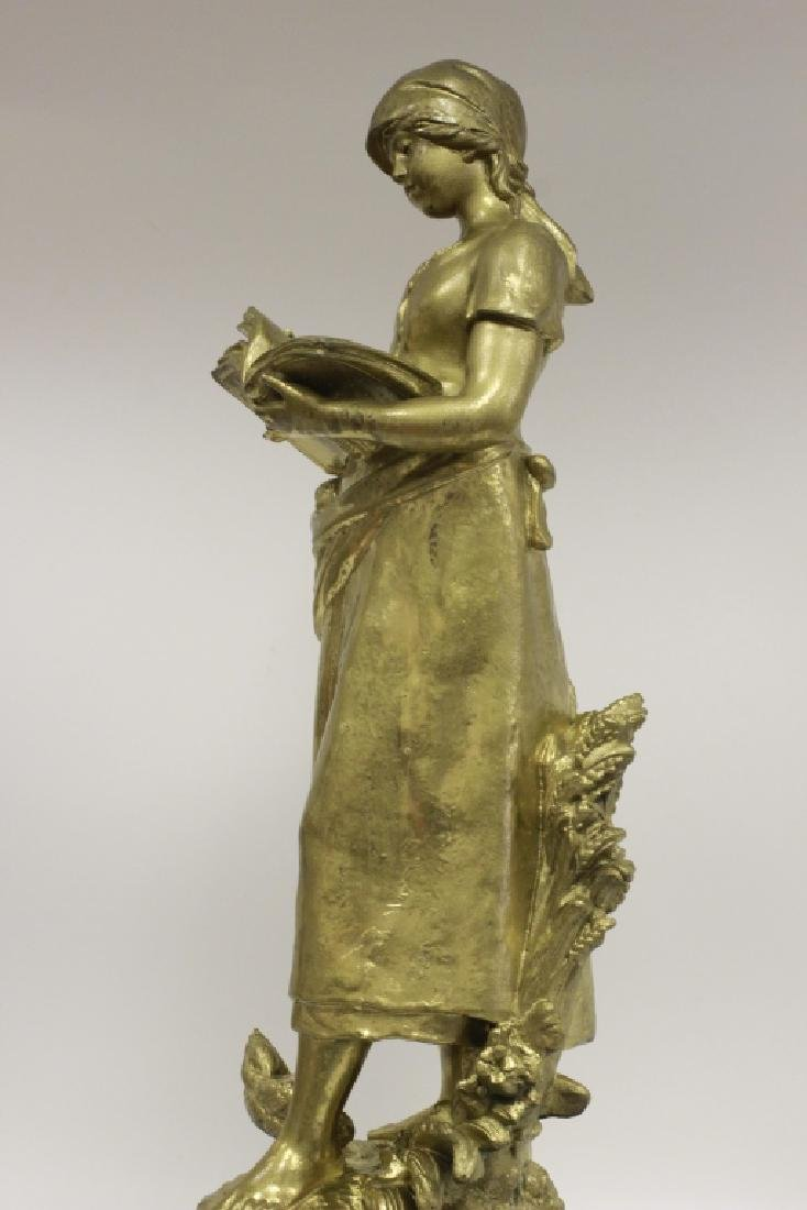 Signed August Moreau, Gilt Metal Figure of Girl - 7