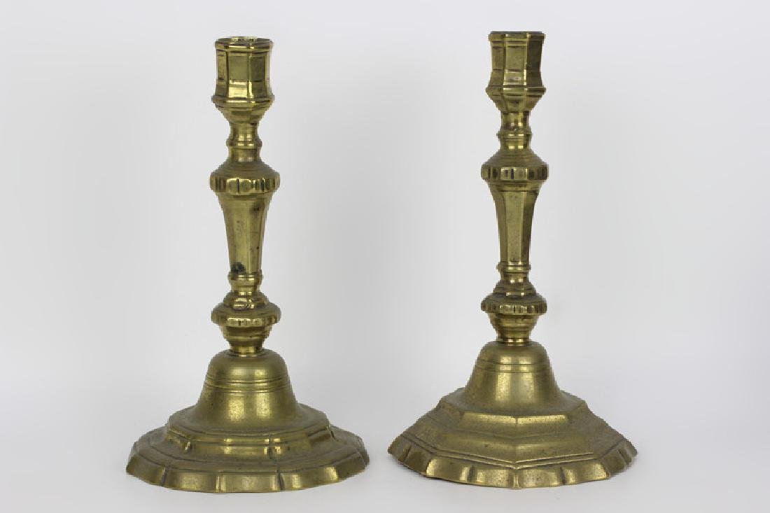 Pair of 18c French Brass Silver Form Candlesticks