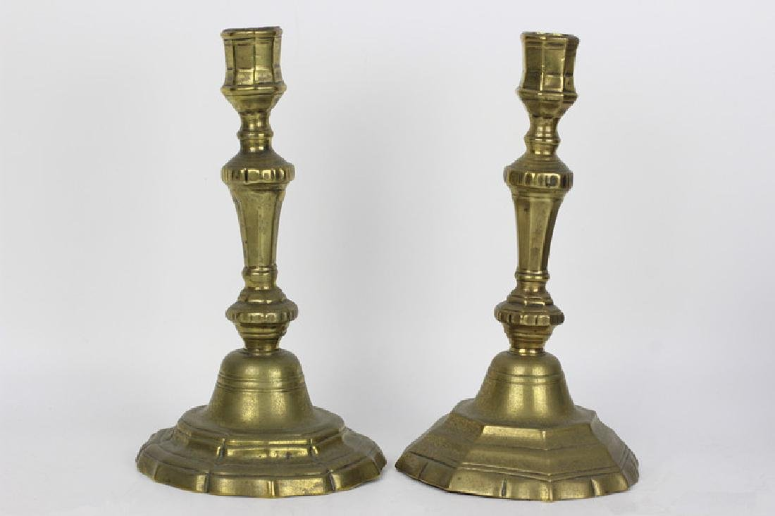 Pair of 18c French Brass Silver Form Candlesticks - 2