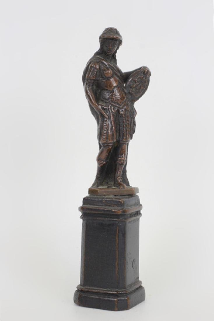 17thc Small Bronze of Standing Man on Wooden Base