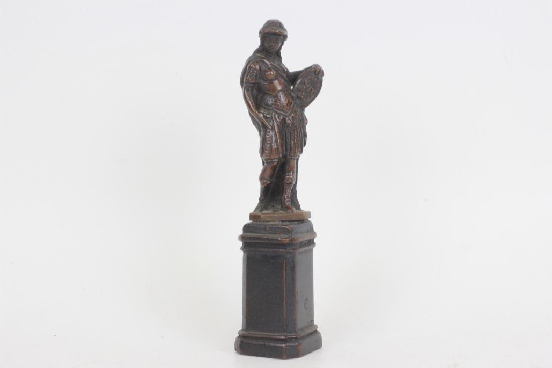17thc Small Bronze of Standing Man on Wooden Base - 2