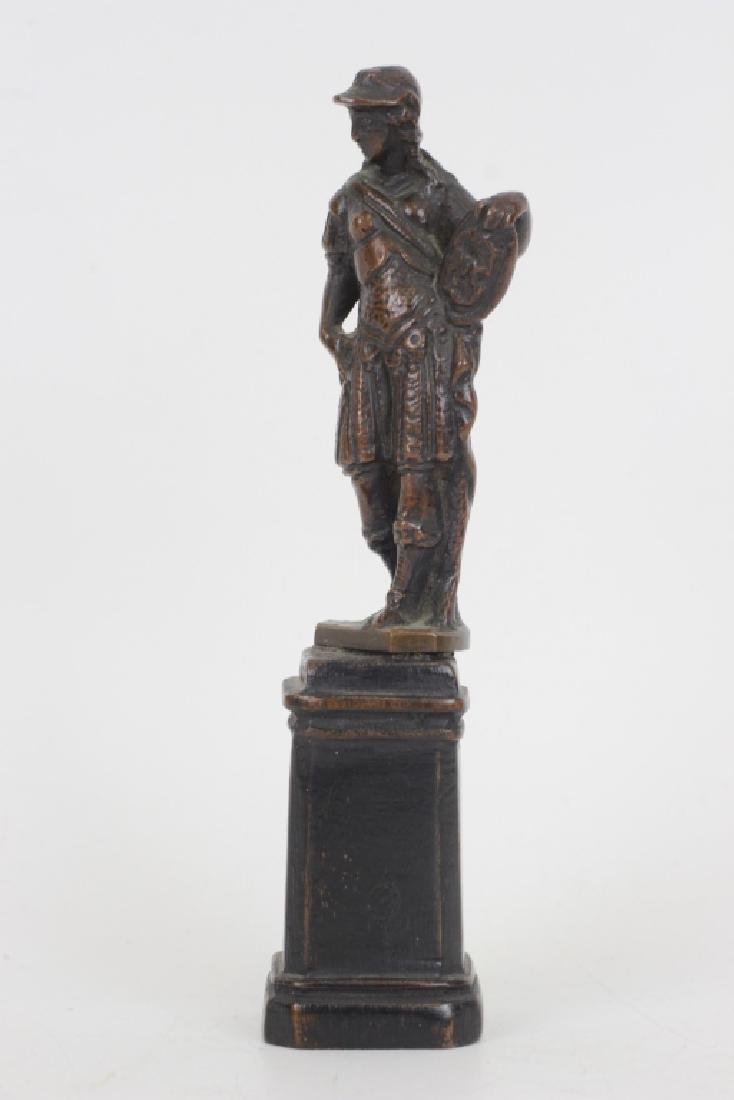 17thc Small Bronze of Standing Man on Wooden Base - 4