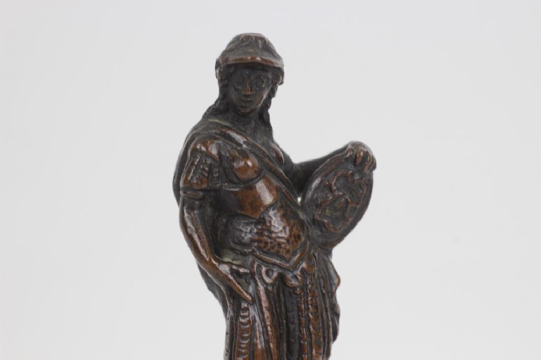 17thc Small Bronze of Standing Man on Wooden Base - 5