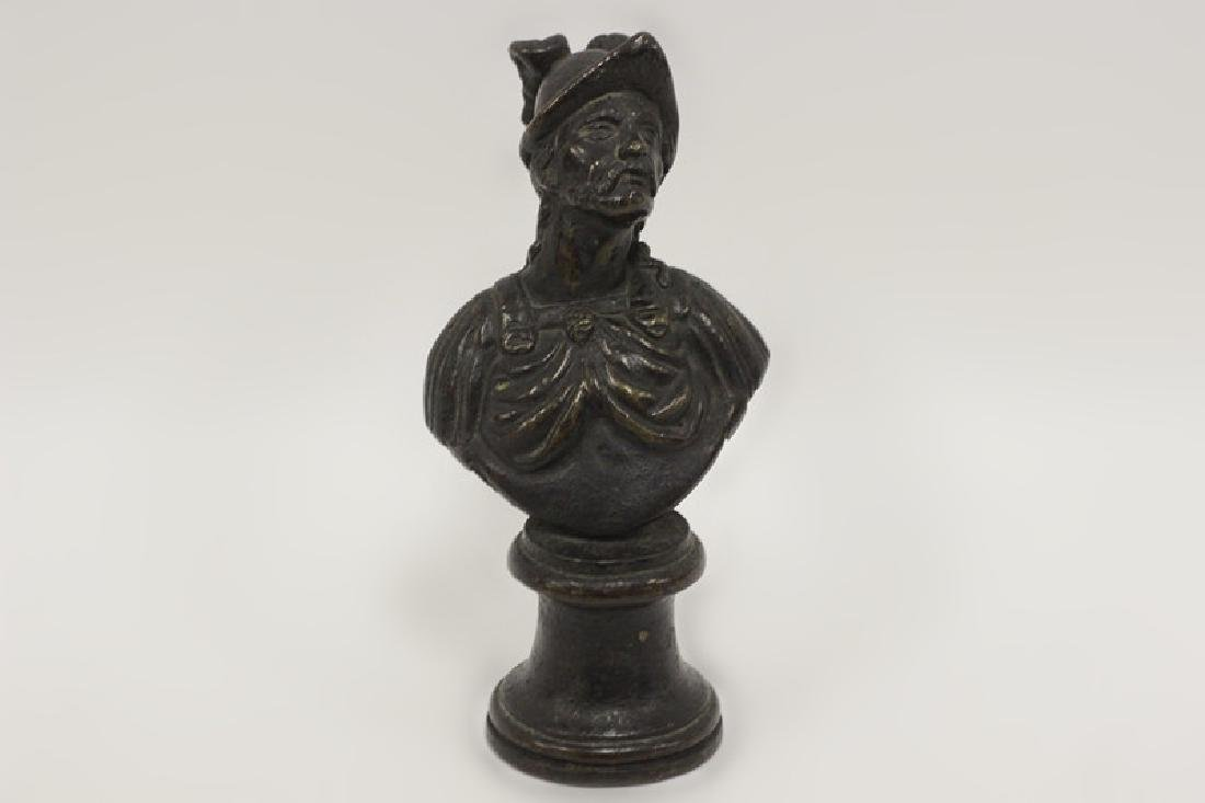 17thc Small Bronze of Warrior on Bronze Base