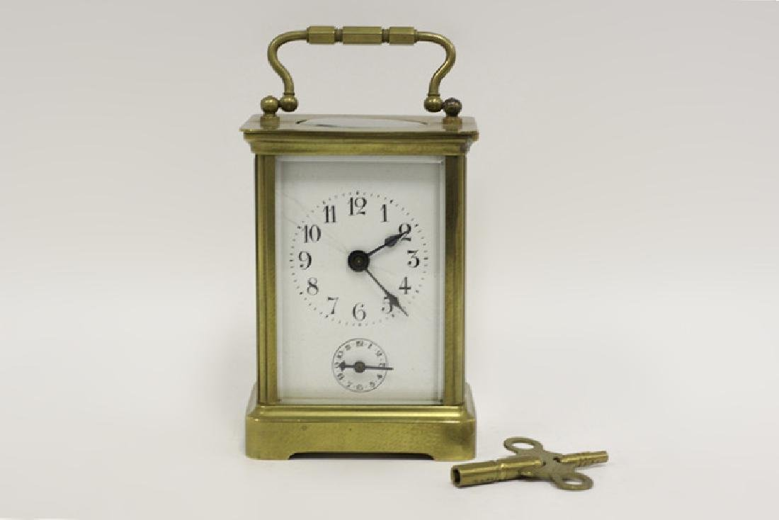 Vintage Bronze Carraige Clock, Made in France
