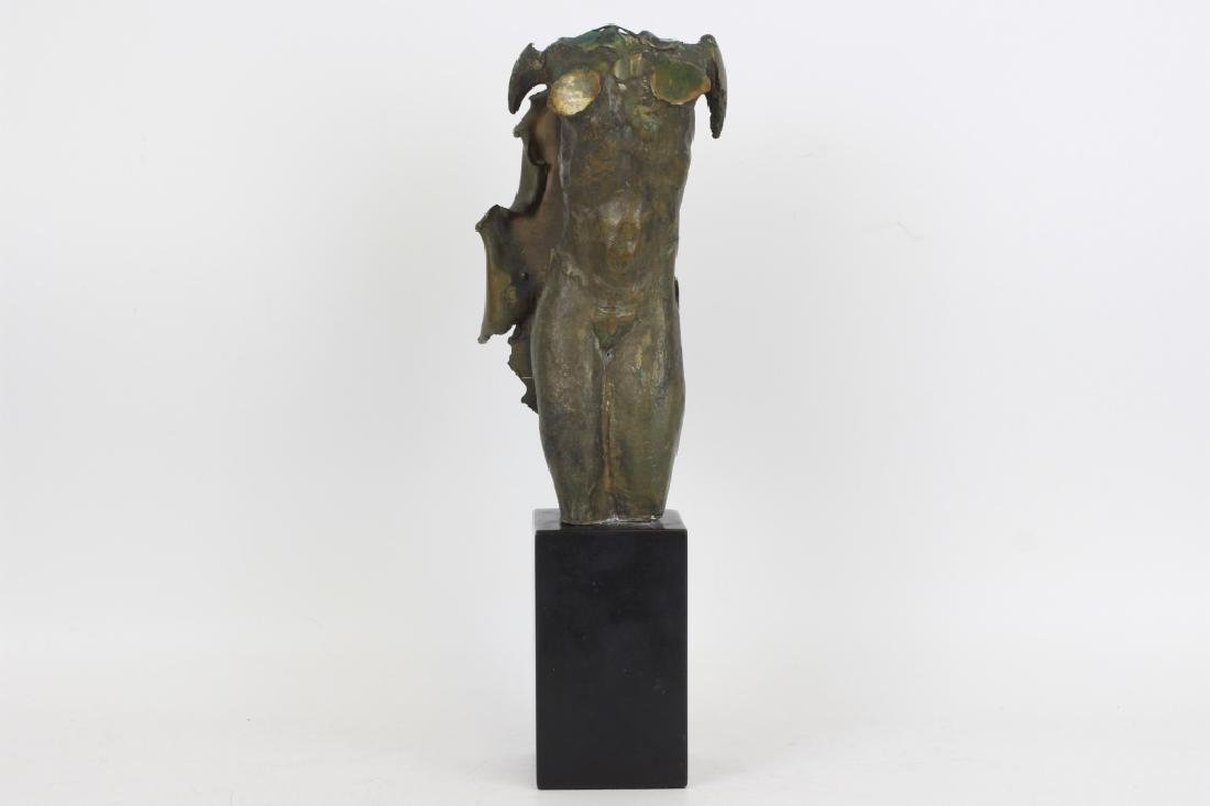 Unusual Bronze Figure of Winged Man Signed & Dated