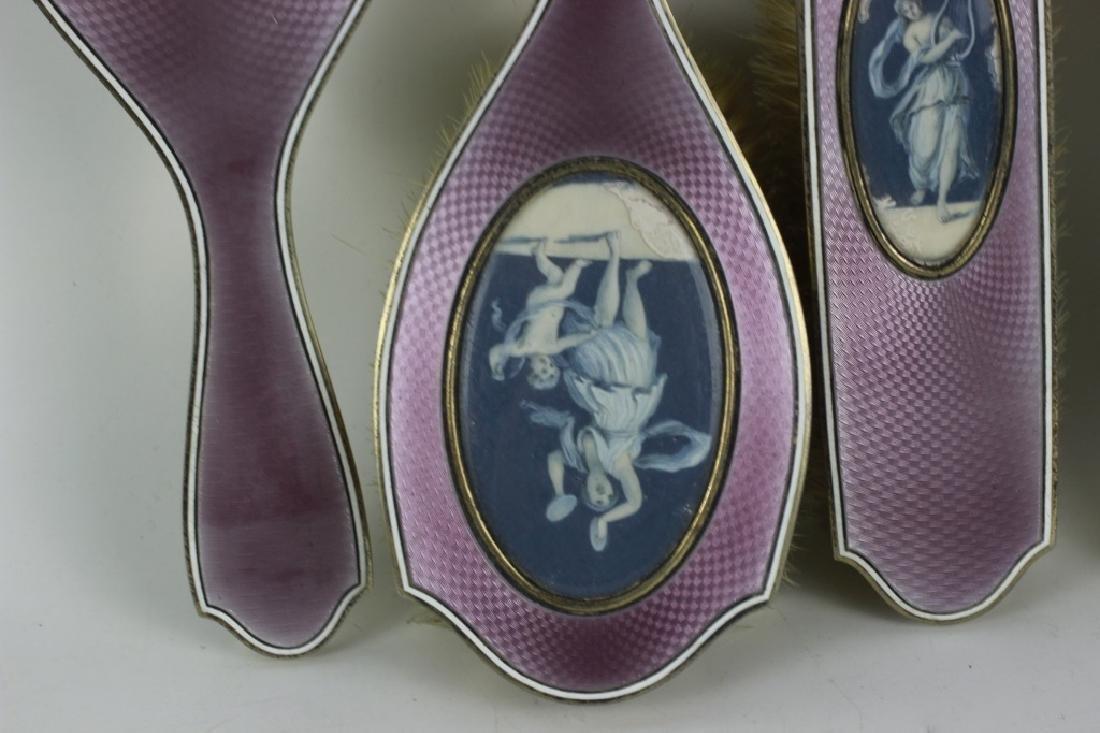 19thc 4pc Silver & Enamel Vanity Set - 3