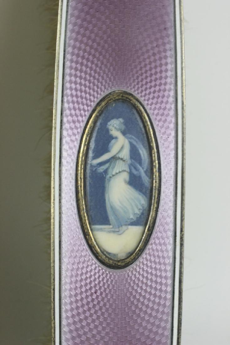 19thc 4pc Silver & Enamel Vanity Set - 4