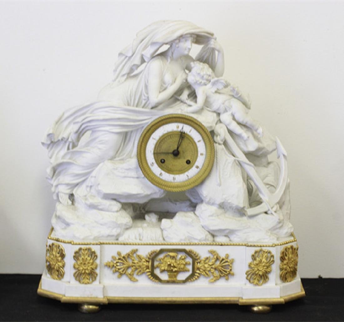 Rare English Derby Large Bisque Clock - 10