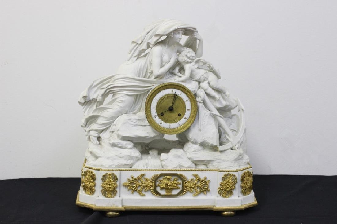 Rare English Derby Large Bisque Clock