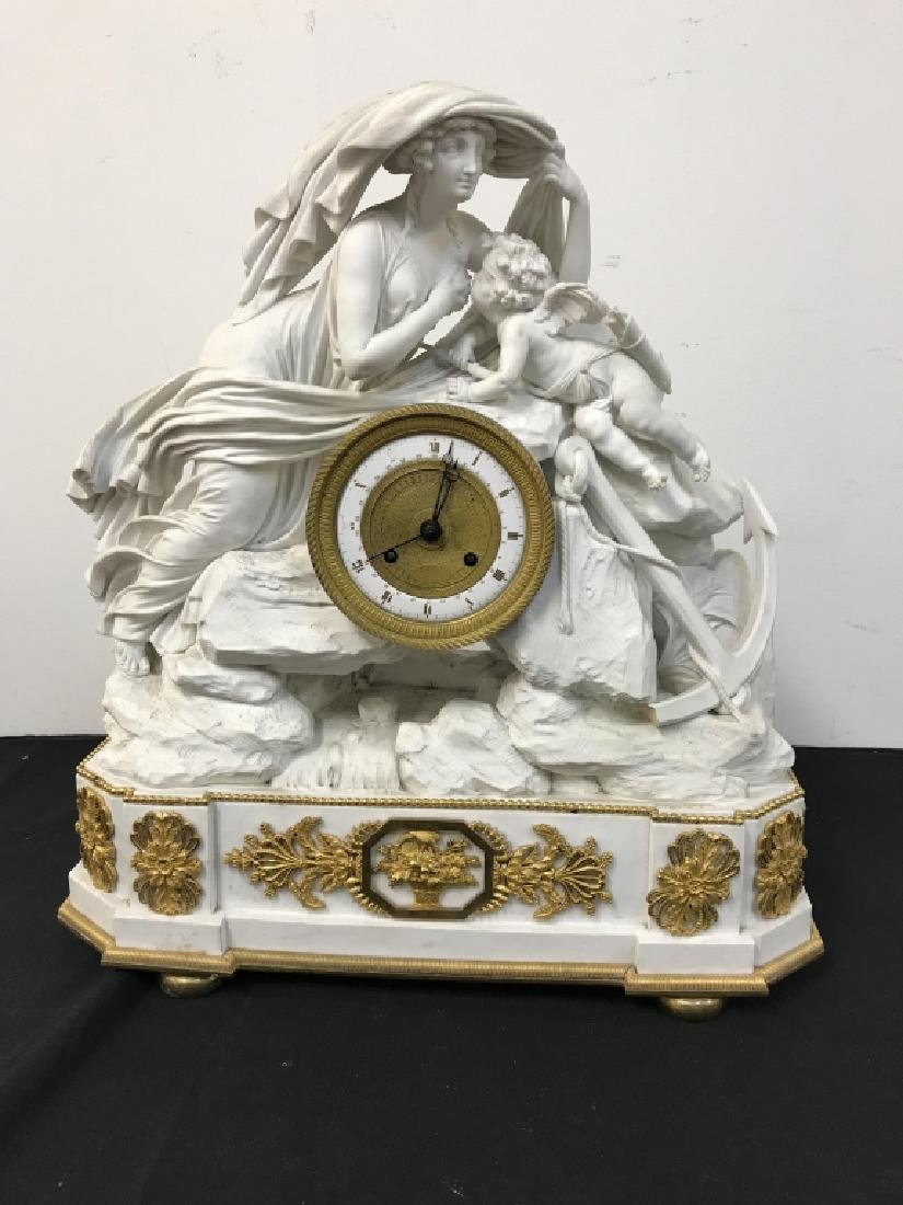 Rare English Derby Large Bisque Clock - 3