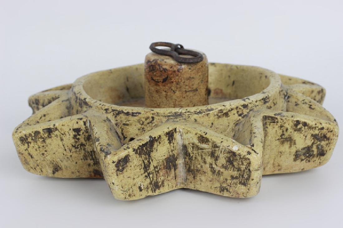 Early 19thc Rare Judaica Stone Hanukkah Oil Burner - 5