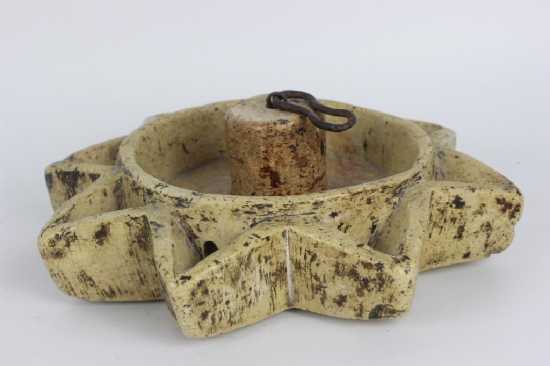 Early 19thc Rare Judaica Stone Hanukkah Oil Burner - 7
