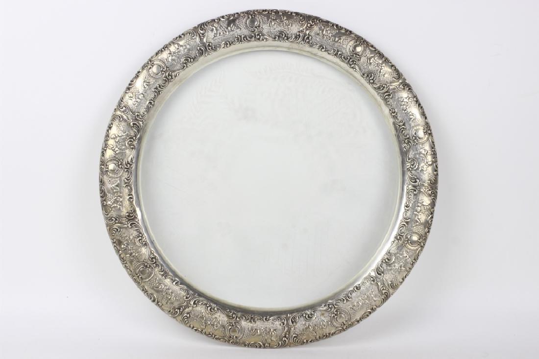 German Silver & Glass Tray - 10
