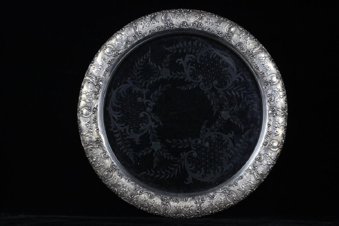 German Silver & Glass Tray