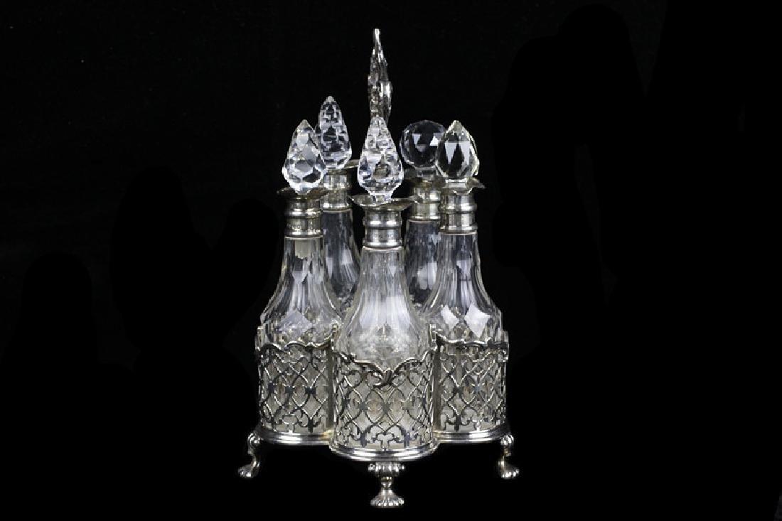 English Georgian Sterling Silver Cut Crystal Cruet
