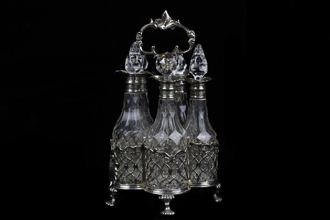 English Georgian Sterling Silver Cut Crystal Cruet - 2