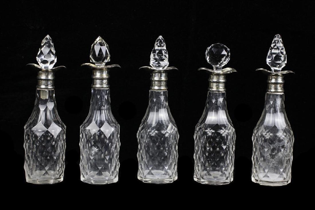 English Georgian Sterling Silver Cut Crystal Cruet - 5