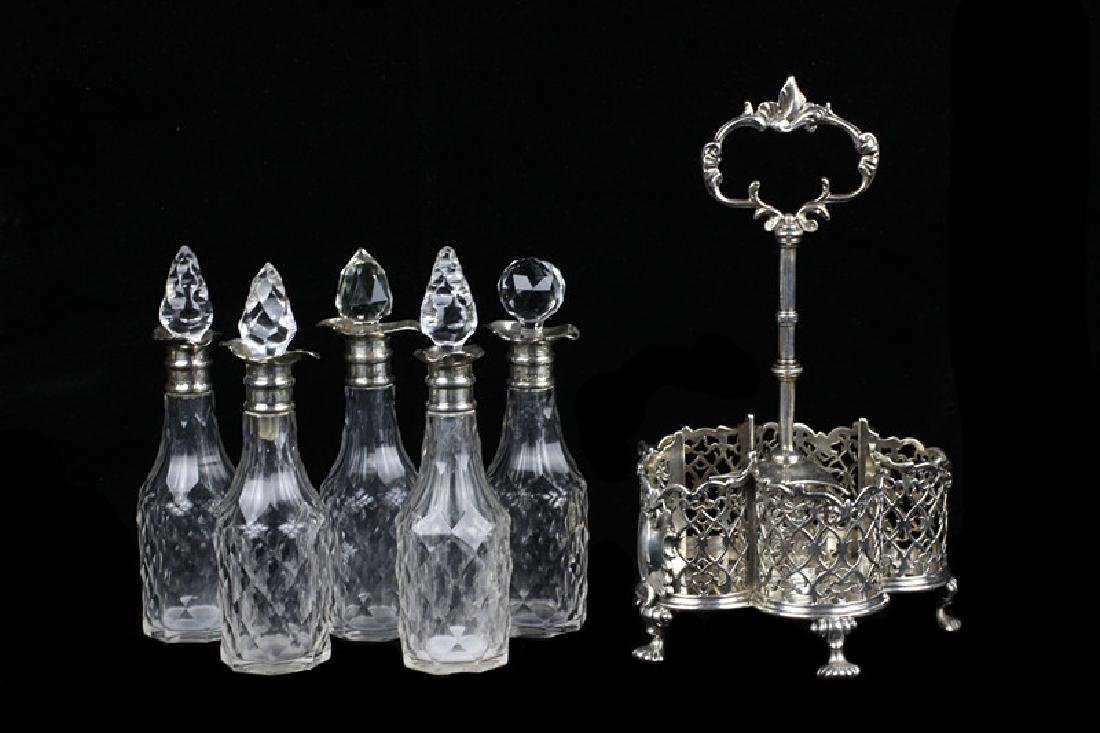 English Georgian Sterling Silver Cut Crystal Cruet - 6