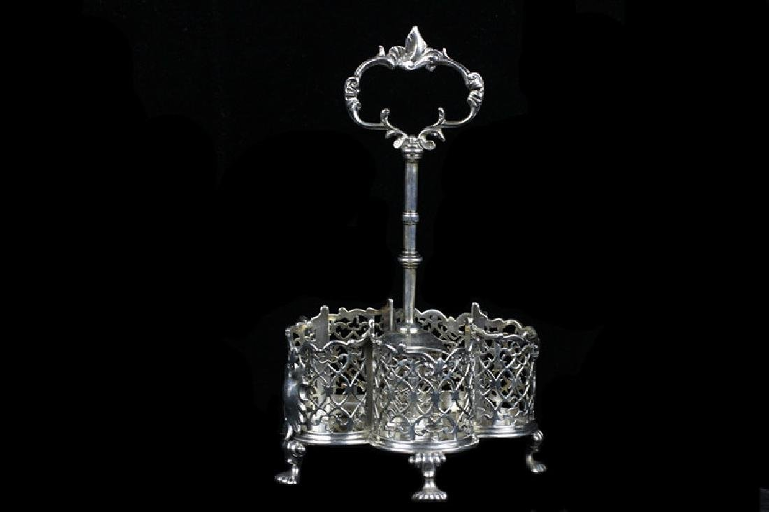 English Georgian Sterling Silver Cut Crystal Cruet - 7