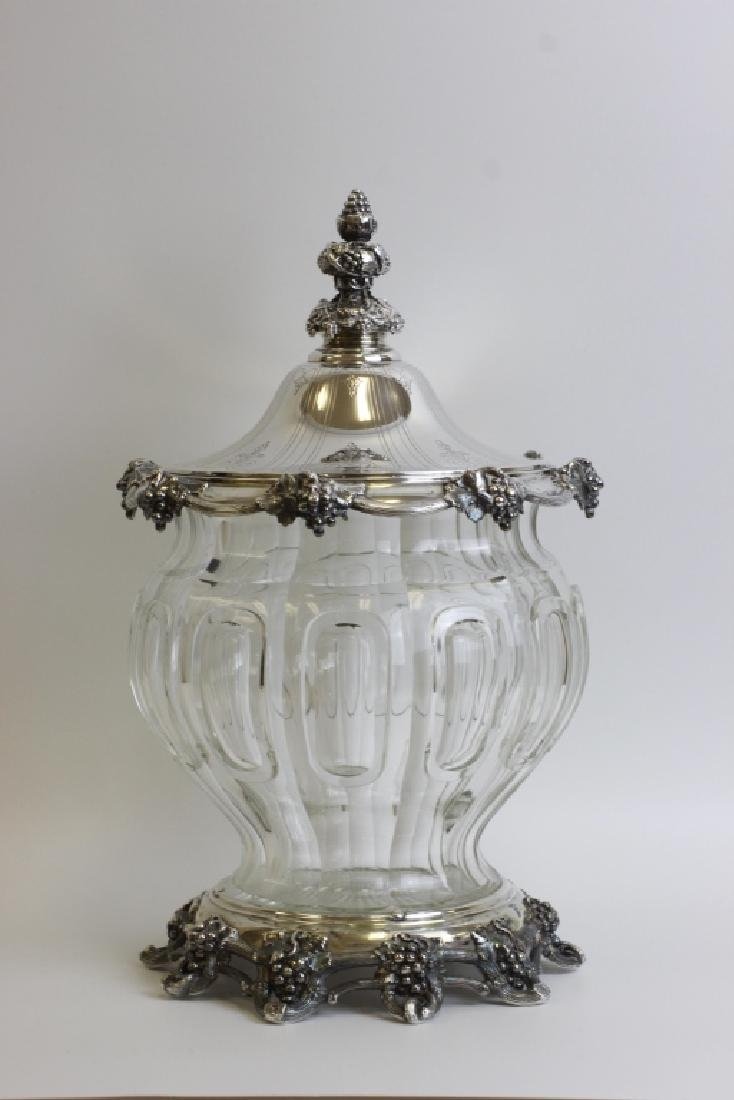Unusual German Silver & Glass Punch Bowl on Stand - 2