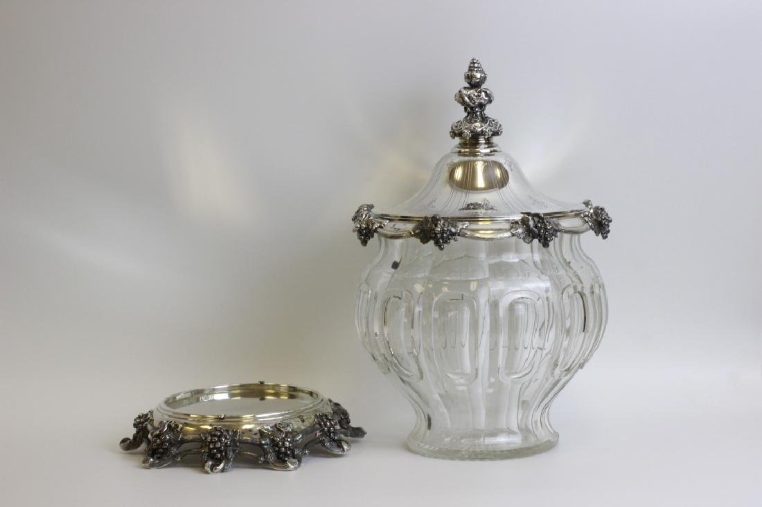 Unusual German Silver & Glass Punch Bowl on Stand - 4