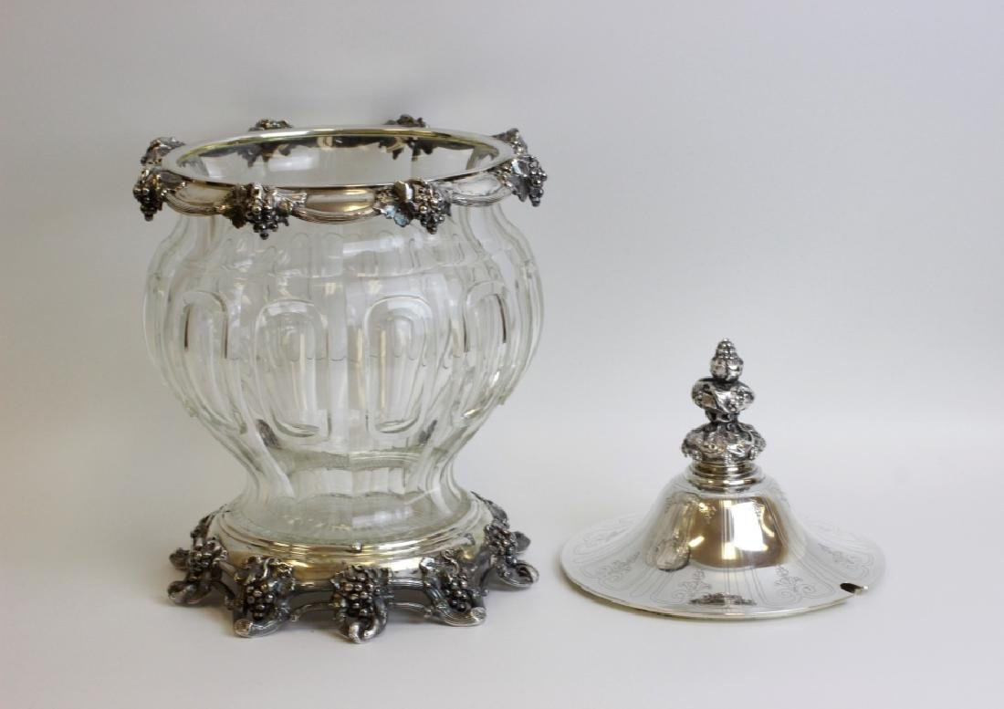 Unusual German Silver & Glass Punch Bowl on Stand - 7