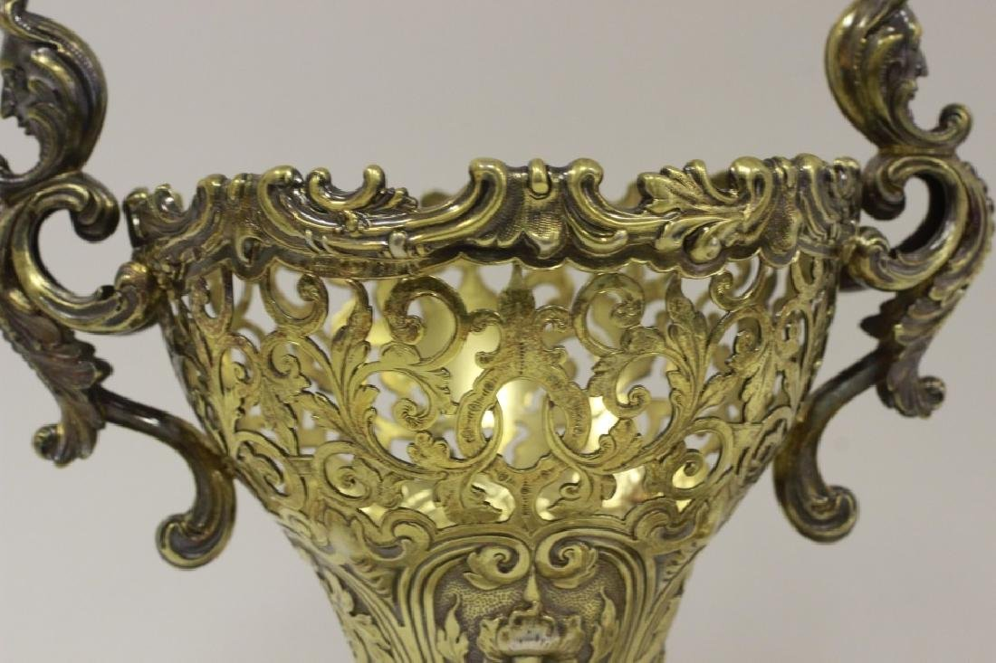 19thc Russian Silver Gilded Reticulated Candy Dish - 10