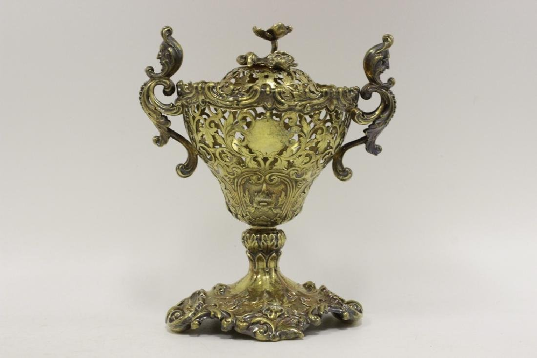 19thc Russian Silver Gilded Reticulated Candy Dish