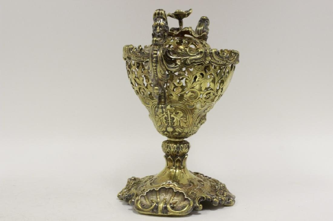 19thc Russian Silver Gilded Reticulated Candy Dish - 2