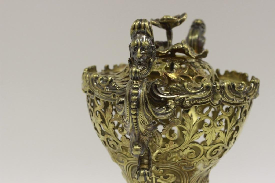 19thc Russian Silver Gilded Reticulated Candy Dish - 3