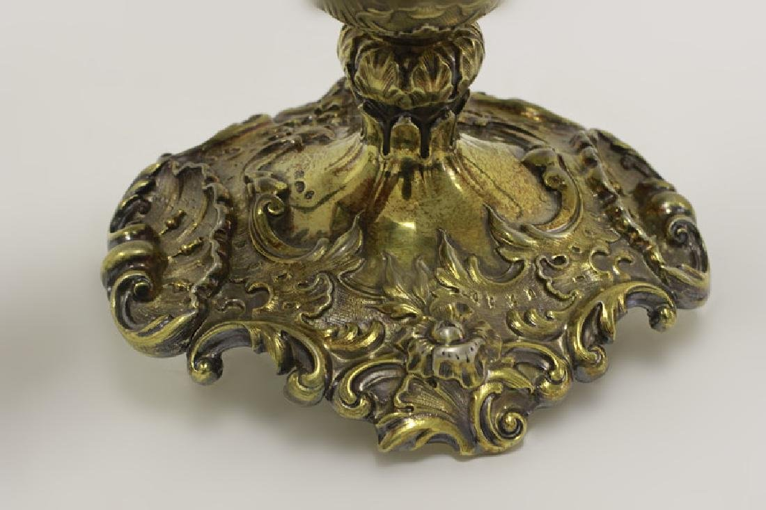 19thc Russian Silver Gilded Reticulated Candy Dish - 6