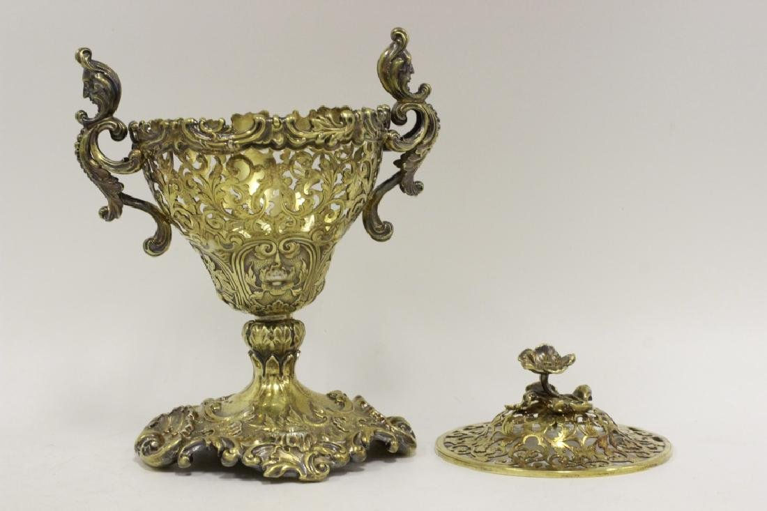 19thc Russian Silver Gilded Reticulated Candy Dish - 9