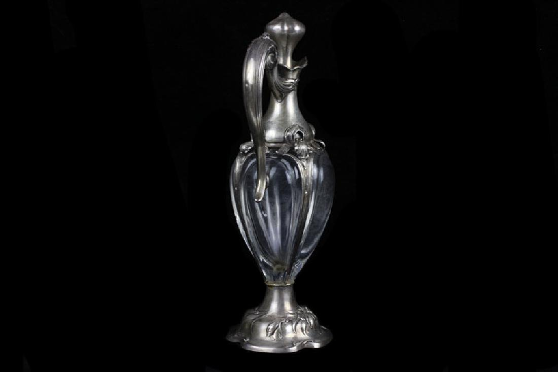 Art Nouveau Sterling Silver Mounted Crystal Pitche - 2