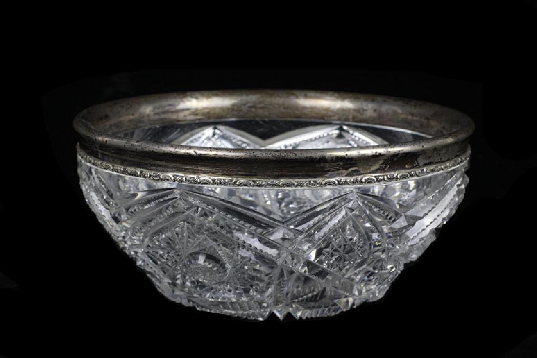 American Cut Crystal Bowl w/ Silver Rim