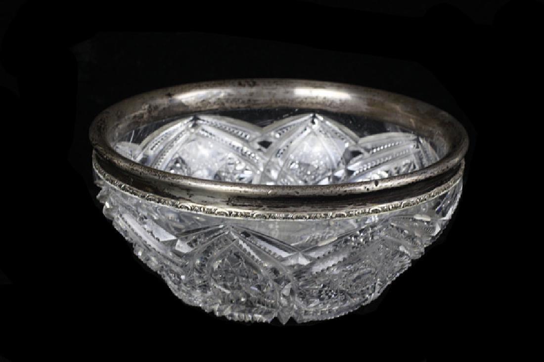American Cut Crystal Bowl w/ Silver Rim - 2