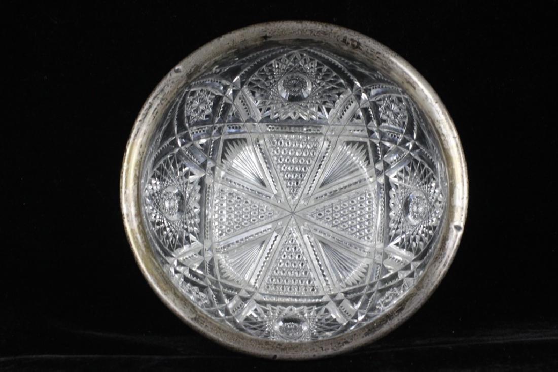 American Cut Crystal Bowl w/ Silver Rim - 7